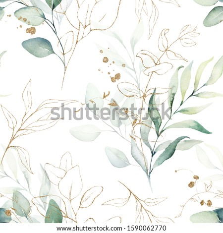 Seamless watercolor floral pattern - green & gold leaves, branches composition on white background, perfect for wrappers, wallpapers, postcards, greeting cards, wedding invitations, romantic events.