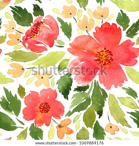 Seamless watercolor floral pattern. Loose flowers painting