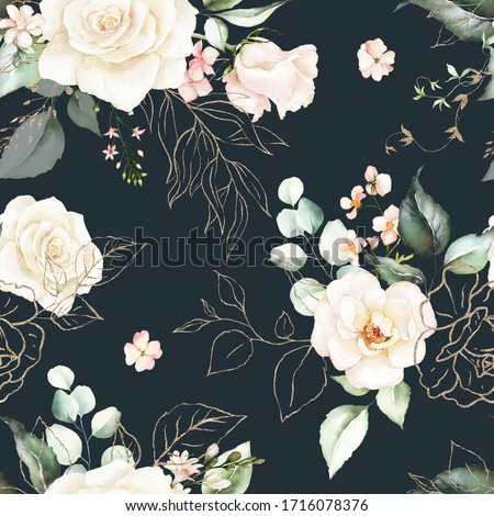 Seamless watercolor floral pattern - pink flowers, gold elements, green leaves & branches on dark background; for wrappers, wallpapers, postcards, greeting cards, wedding invites, romantic events.