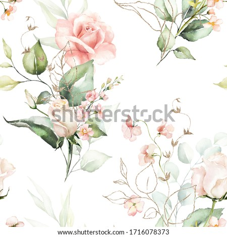 Seamless watercolor floral pattern - pink flowers, gold elements, green leaves & branches on white background; for wrappers, wallpapers, postcards, greeting cards, wedding invites, romantic events.