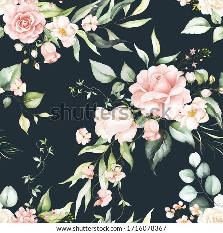 Seamless watercolor floral pattern - pink flowers, green leaves & branches on dark background; for wrappers, wallpapers, postcards, greeting cards, wedding invitations, romantic events.