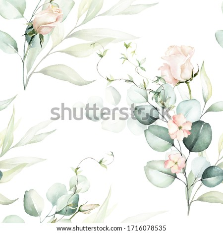 Seamless watercolor floral pattern - pink flowers, green leaves & branches on white background; for wrappers, wallpapers, postcards, greeting cards, wedding invitations, romantic events.