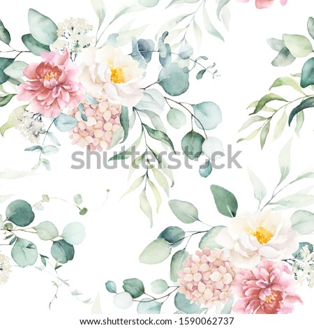 Seamless watercolor floral pattern with pink & peach cream flowers, leaves composition on white background, perfect for wrappers, wallpapers, postcards, greeting cards, wedding invitations, events.