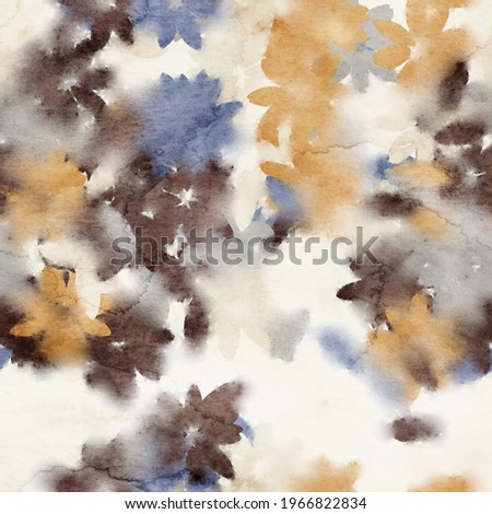 Seamless watercolor floral trendy chic pattern for surface print. High quality illustration. Luxury sophisticated graphic design. Emotional tender romantic feeling. Paint wash bleeds in paper. Сток-фото ©