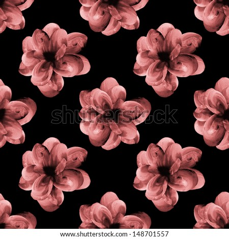 Seamless watercolor flowers on black background pattern