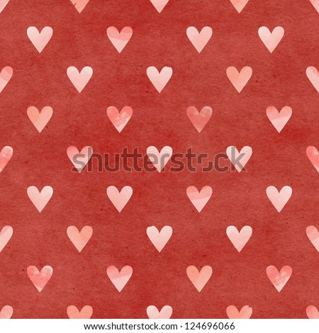 Seamless watercolor heart pattern on paper texture. Valentine's day background - stock photo