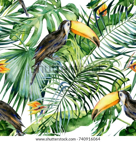 Shutterstock Seamless watercolor illustration of toucan bird. Ramphastos. Tropical leaves, dense jungle. Strelitzia reginae flower. Hand painted. Pattern with tropic summertime motif. Coconut palm leaves.