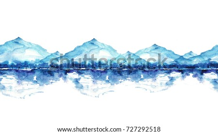 Seamless watercolor linear pattern, border. Blue mountain landscape, a river, a forest and a reflection in the water,  silhouette of trees. On white isolated background..