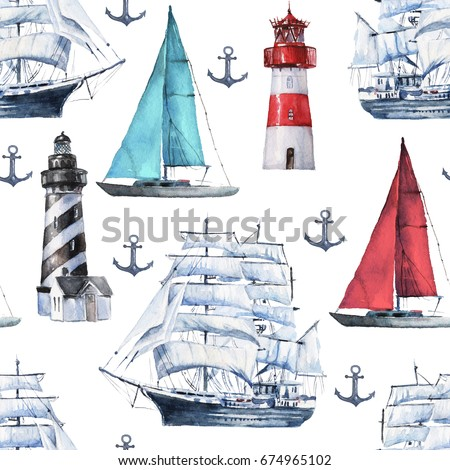 Seamless watercolor nautical pattern with various boats, ships, vessels and anchor on white background, perfect for wrappers, wallpapers, postcards, greetings, wedding invitations, romantic events.