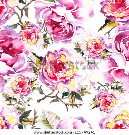 "Seamless watercolor paintings. Abstract watercolor hand painted backgrounds Album.""Roses watercolor""."" seamless water color with the backgrounds"""