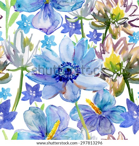 Seamless watercolor paintings. Abstract watercolor vintage hand painted backgrounds. blue flowers pattern. watercolor painting