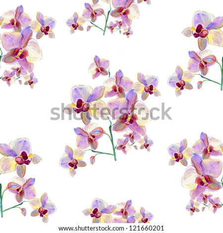 Seamless watercolor paintings with orchids.