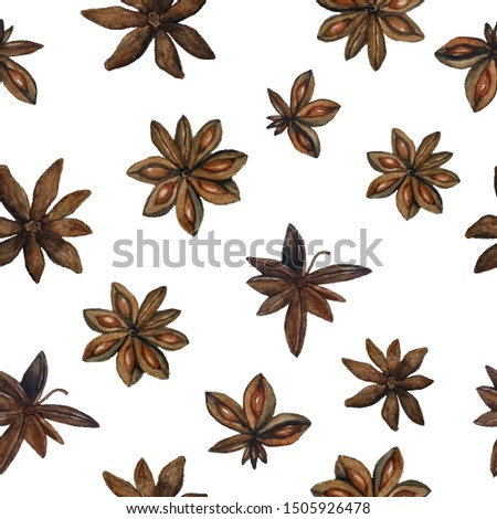 seamless watercolor pattern brown dried anise stars Illicium verum spice for mulled spiced wine Chinese seed badian for Christmas winter season celebration food menu cooking realistic organic healthy