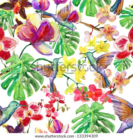 seamless watercolor pattern, flora  tropical flowers, birds and leaves.