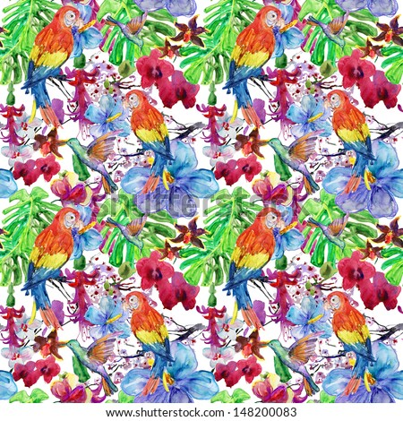 seamless watercolor pattern flora tropical flowers birds and leaves