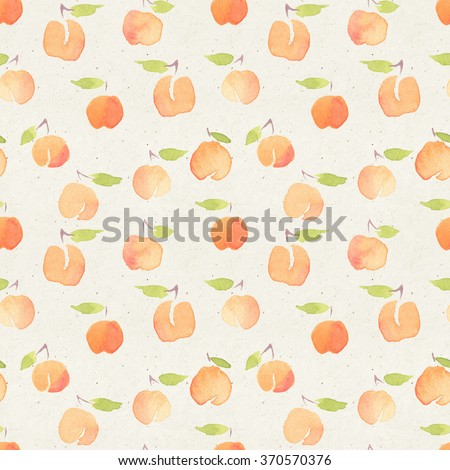 Seamless watercolor pattern on paper texture. Cute peach background.