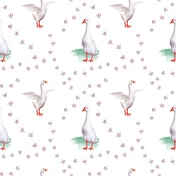 Seamless watercolor pattern with a picture of poultry. white goose. Crow's feet.