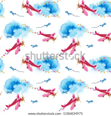 Seamless watercolor pattern with children's vintage planes in the sky