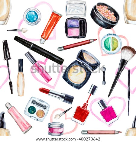 Seamless watercolor pattern with cosmetic, beauty items, mascara, lipstick, foundation cream, brushes, eye shadow, nail polish, powder, lip gloss. Hand drawn makeup cosmetics