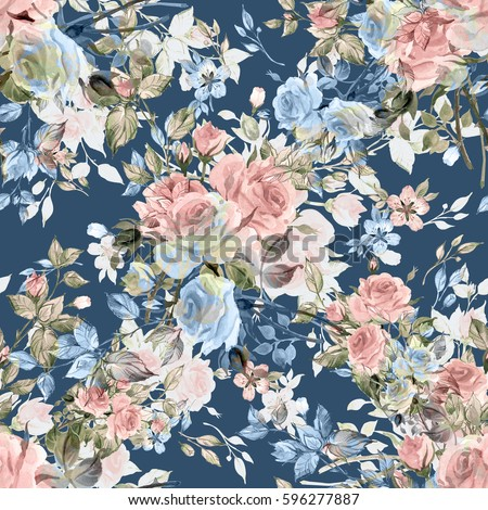 Seamless watercolor pattern with rose buds and leaves V