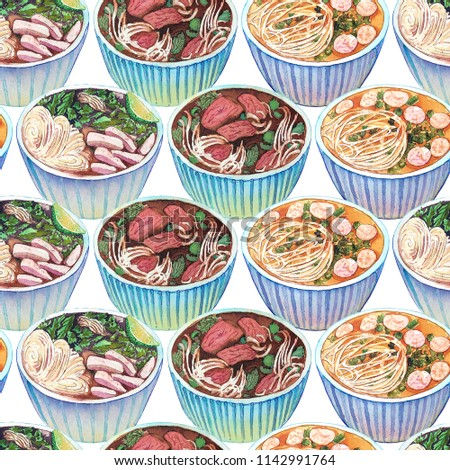 Seamless watercolor pattern with vietnamese soup pho. Tasty hot fresh asian soup repeating background. Hand drawn pattern with bowls of delicious meat soup pho.