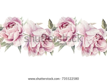 Seamless Watercolor Pink Peonies Pattern