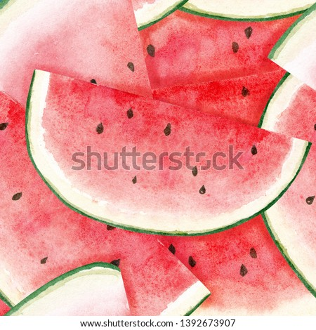 Seamless watermelons pattern. Watercolor background with fresh watermelon slices.