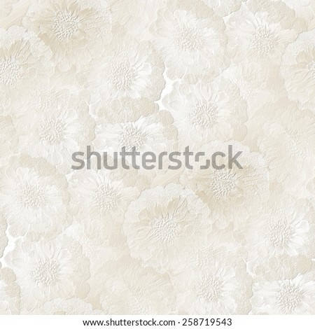 seamless wedding pattern, white gypsum board, painted with watercolors, stamped shapes of small flowers texture ストックフォト ©