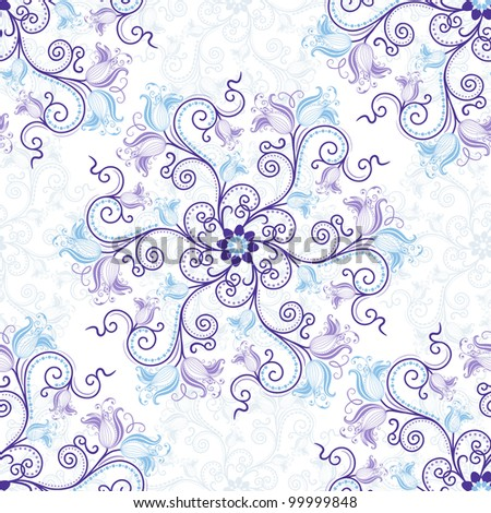 Seamless white and pink floral pattern - stock photo