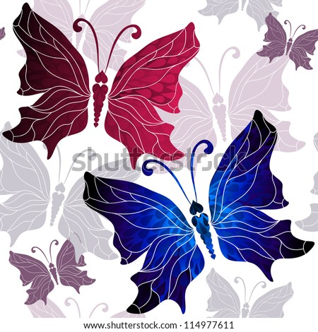 Seamless white pattern with vivid red, blue and gray butterflies