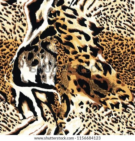 Seamless wild  leopard safari skin pattern. Mix of Tiger skin, jaguar skin, leopard print.