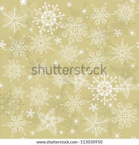seamless winter pattern with snowflakes on beige background