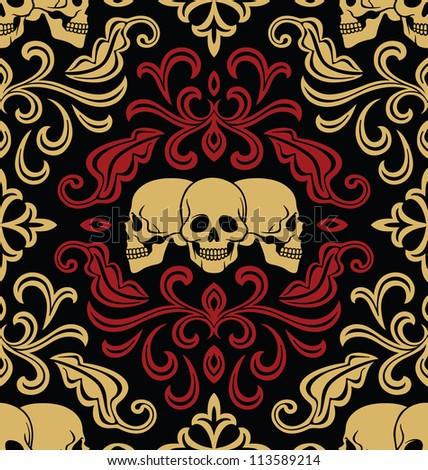 Seamless with skulls ornament. Raster version.