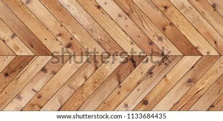Seamless wood parquet texture (horizontal chevron brown) #1133684435