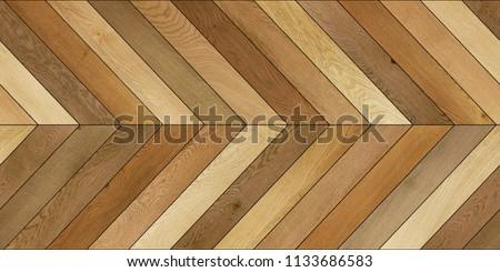 Seamless wood parquet texture (horizontal chevron brown) #1133686583