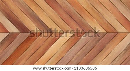 Seamless wood parquet texture (horizontal chevron brown) #1133686586