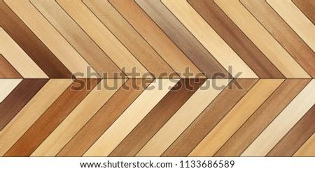 Seamless wood parquet texture (horizontal chevron brown) #1133686589