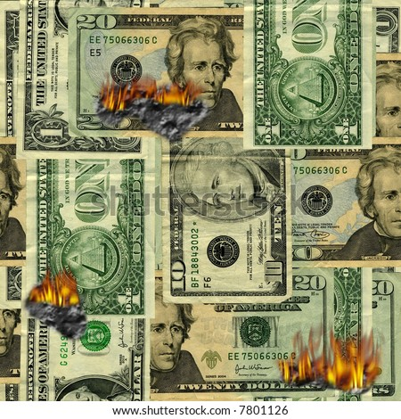 Seamlessly repeatable burning money pattern