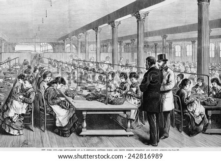 Seamstresses at long tables in the sewing-room at A.T. Stewart's Dry Goods Store at Broadway and 10th street, Owned by Irish-American multi-millionaire merchant, Alexander Turney Stewart (1803-1876).