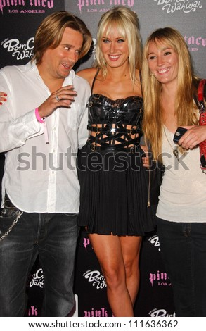 Sean Stewart with Kimberly Stewart and friend at the opening of a Los Angeles outpost of Pink Taco. Pink Taco, Westfield Century City Mall, Los Angeles, CA. 06-28-07 - stock photo