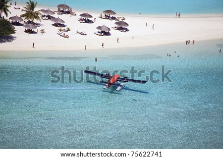 Seaplane At The Resort - stock photo