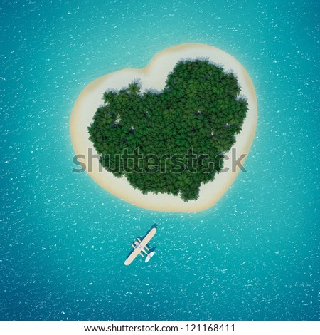Seaplane lands in front of heart-shaped Caribbean island dream