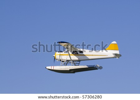 Seaplane taking off from Vancouver seaport