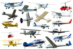 Seaplanes, gliders, light airplanes isolated on white background