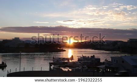 Seaplanes in Victoria Harbour view in Victoria British Columbia Canada in summer at dusk   Foto stock ©