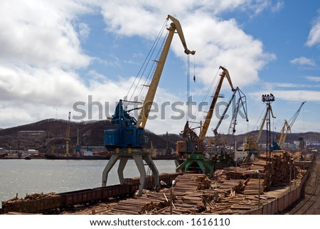 Seaport. Moorings and cranes