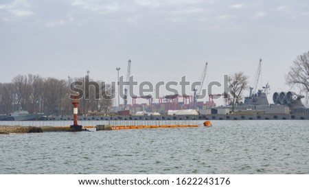 Seaport, shipping containers and ships