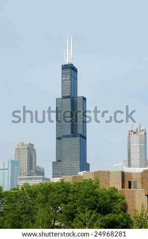 Sear Tower in Chicago far away - stock photo
