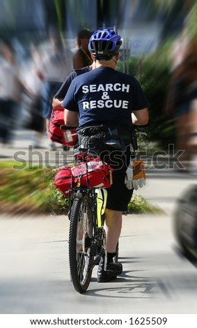 Search and rescue man on bike