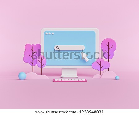 Search bar on computer monitor isolated on pastel pink background. minimal web search concept. 3d rendering